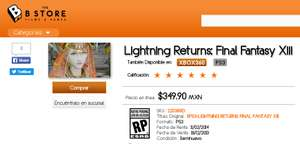 Lightning Returns: Final Fantasy XIII en B-Store y Gameplanet