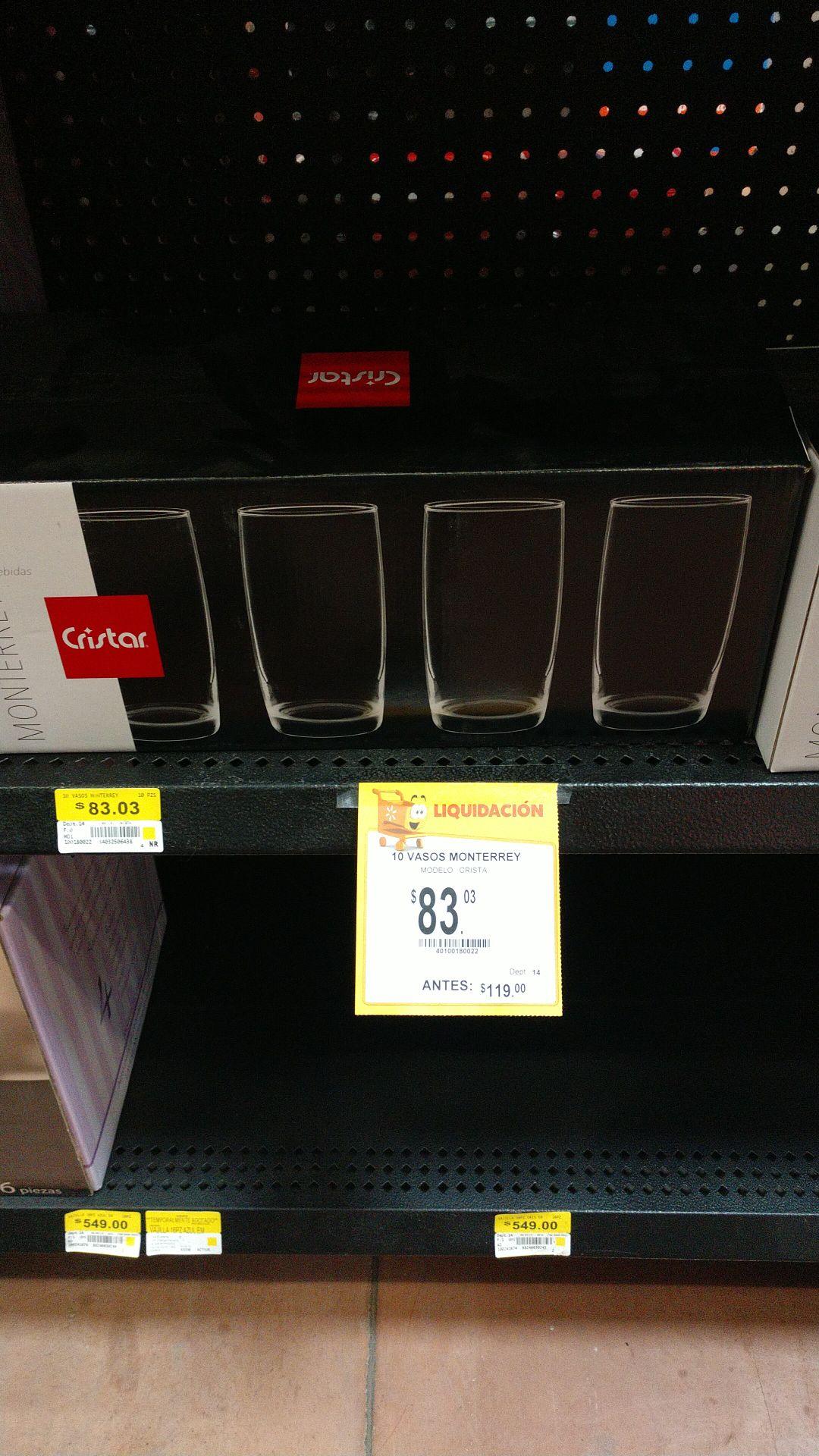 """Walmart: Vasos de cristal """"Cristar"""""""
