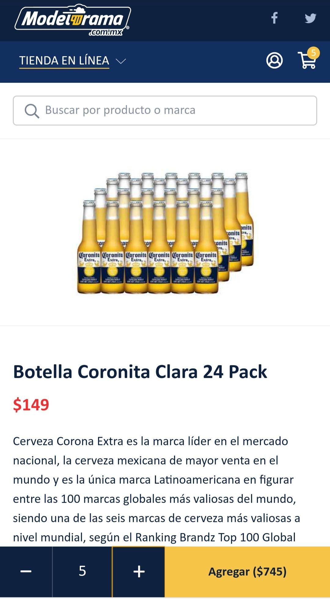 Modelorama: Botella Coronita Clara 24 Pack ($5.68 cada botella comprando 5 paquetes con cupón)