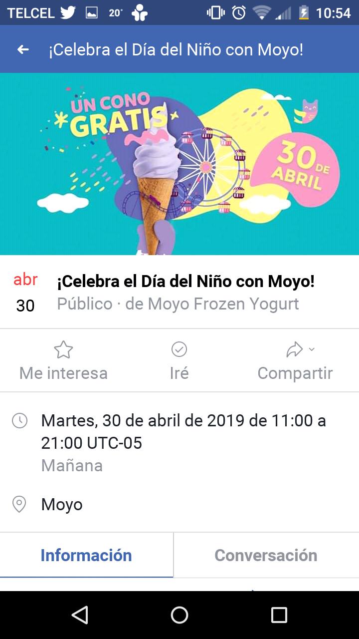 Moyo: helado gratis a niños menores de 13 años (nacional)