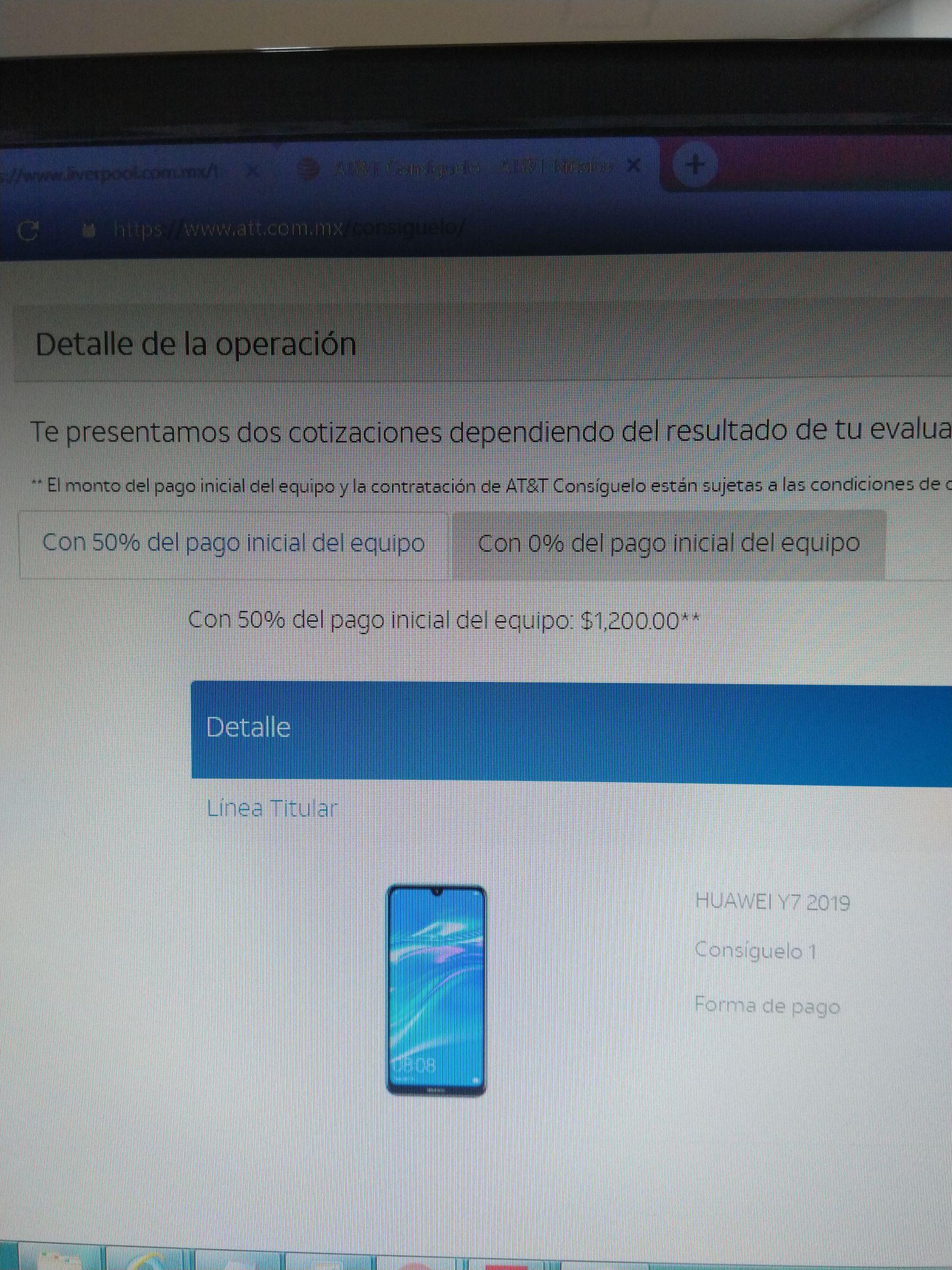 AT&T: Huawei Y7 2019 en plan Consígelo 1
