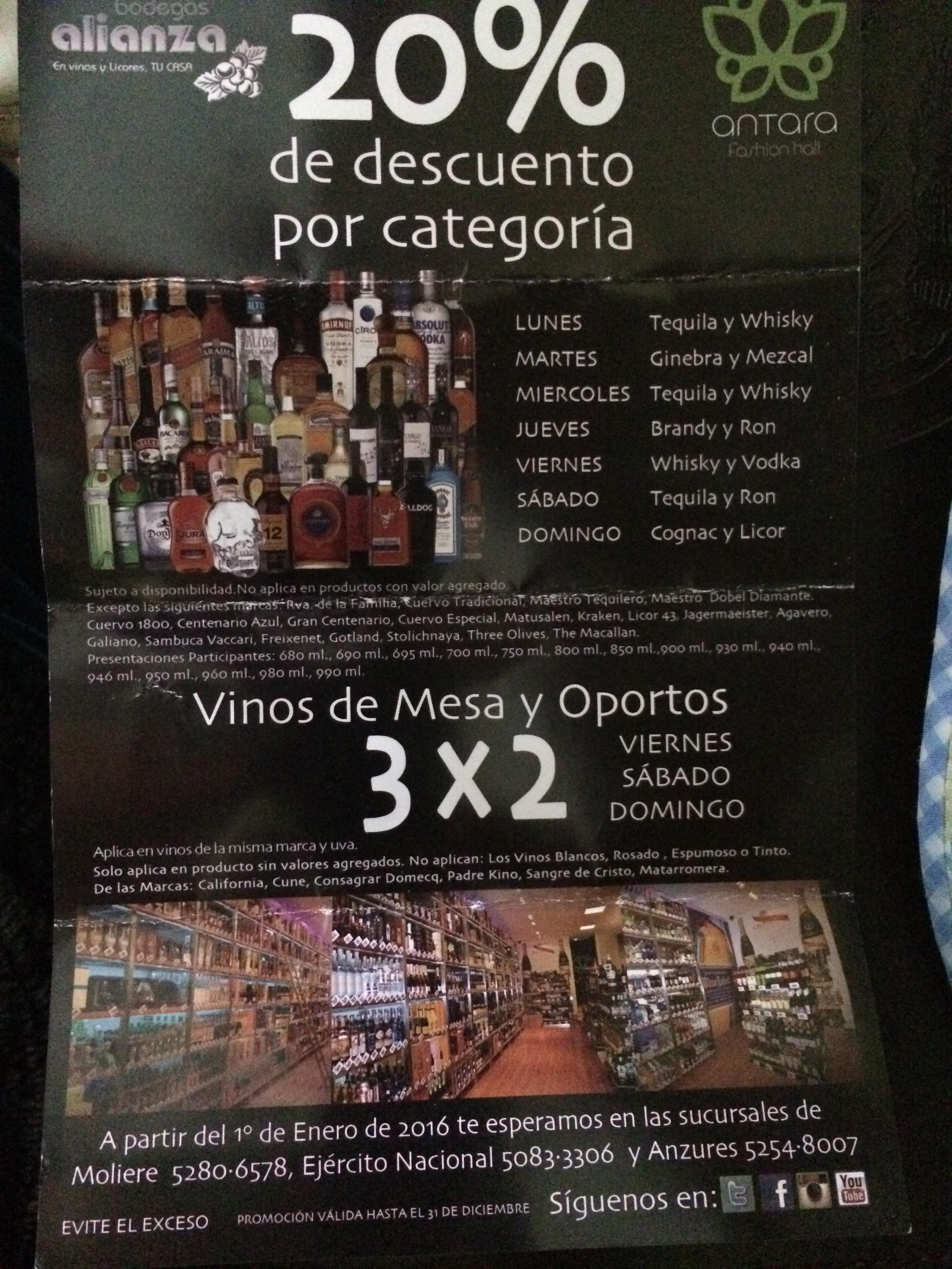 Bodegas Alianza Plaza Antara: 20% descuento an agunas bebidas por día