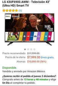 "Amazon Pantalla LG 4K, Smart, 43"" Mod: LG 43UF6900.AWM"