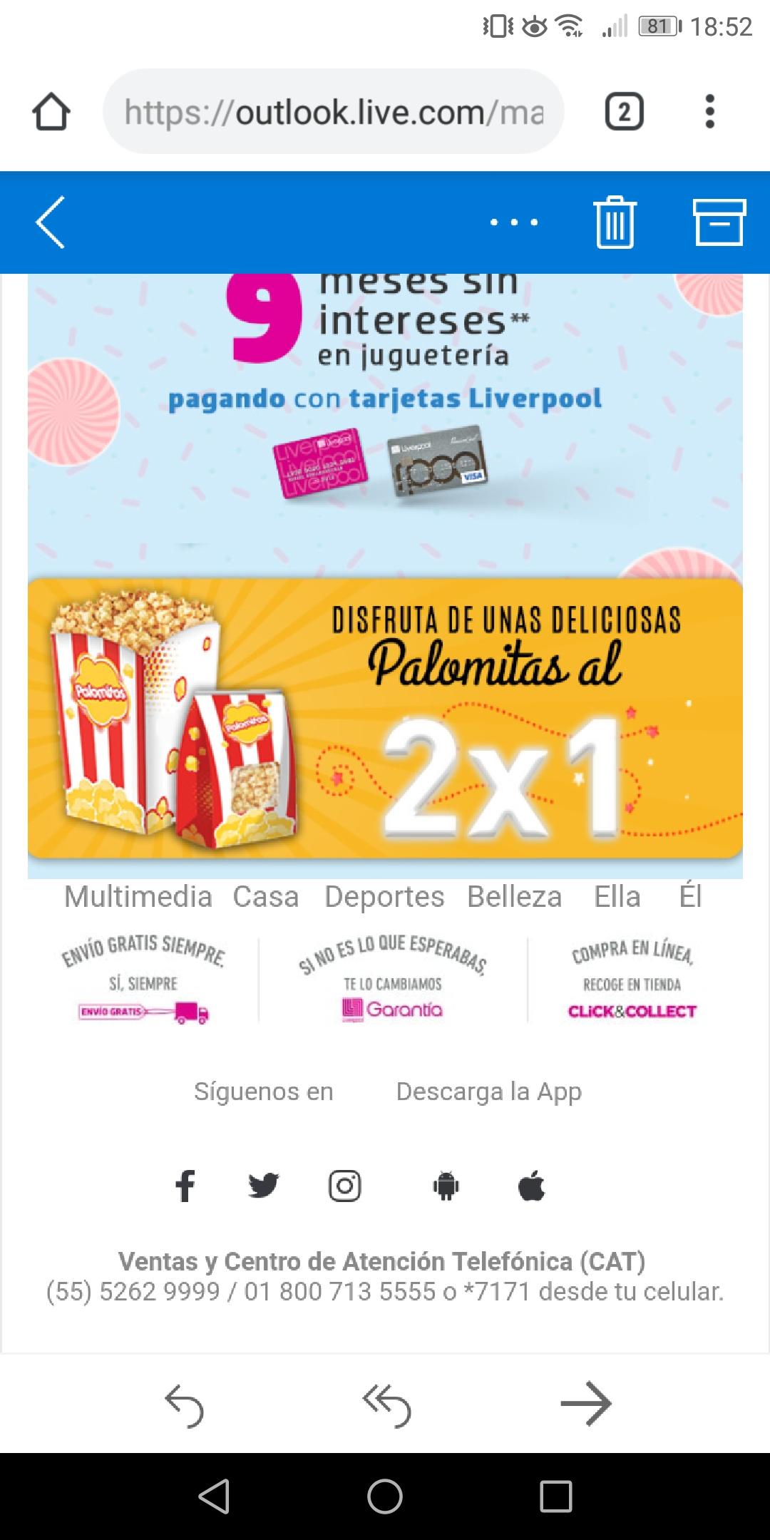 Liverpool: Palomitas al 2x1