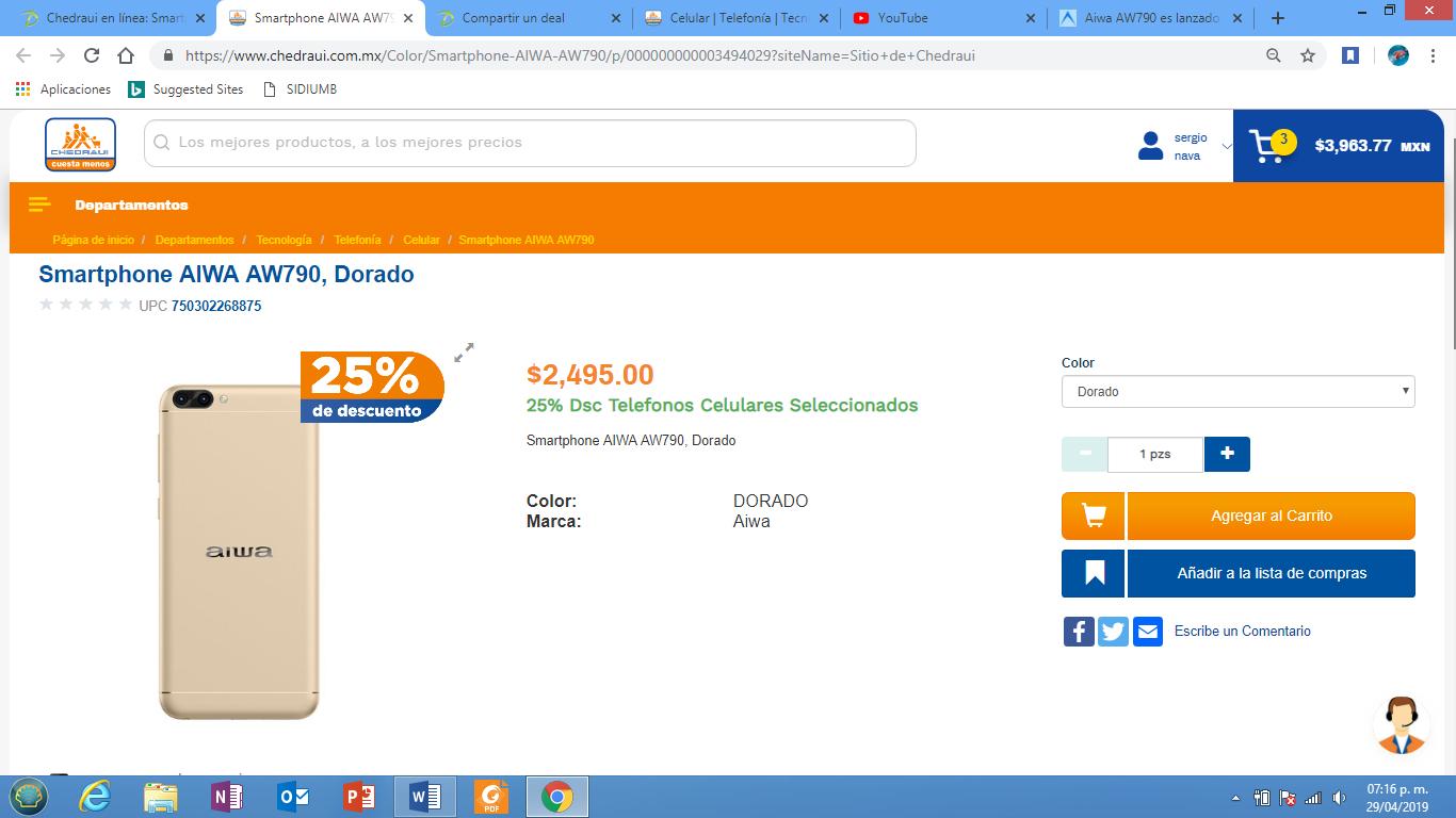 Chedraui en línea: Smartphone AIWA AW790, Dorado