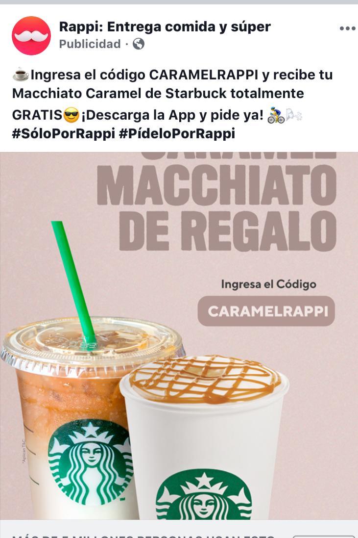 Rappi / Starbuck, Machiato Caramel gratis