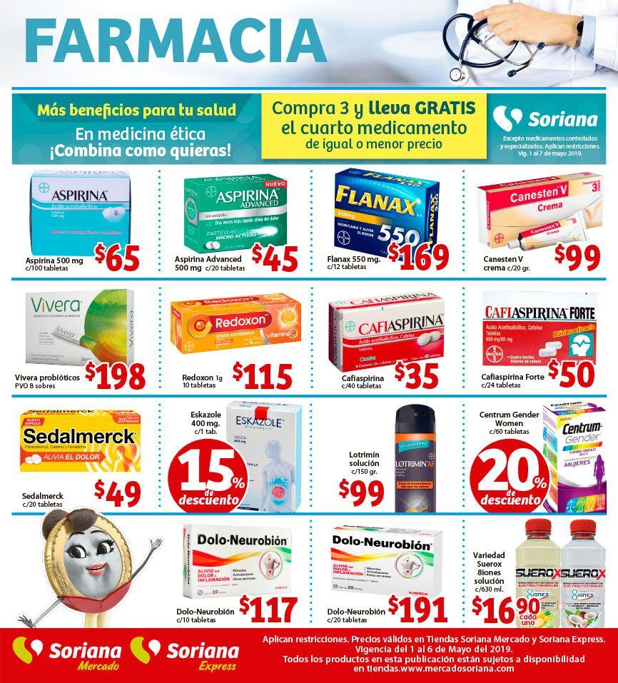 Soriana Mercado y Express: 4 x 3 en medicina ética... Y más ofertas en Farmacia