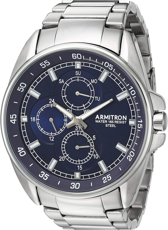 Amazon: Armitron 205224NVSV Reloj Análogo para Hombre, color Azul/Plata