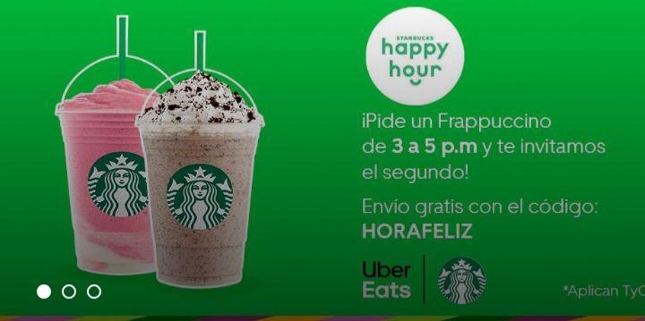 Uber Eats: Starbucks 2x1 En Frapuccinos + Envio Gratis!