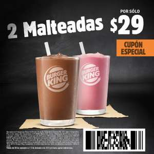 Burger King: 2 malteadas x $29