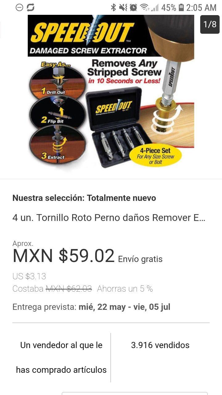Ebay: Removedor de tornillos dañados