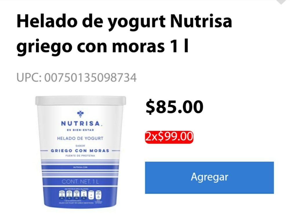 Walmart: helado Nutrisa varios sabores 2* $99