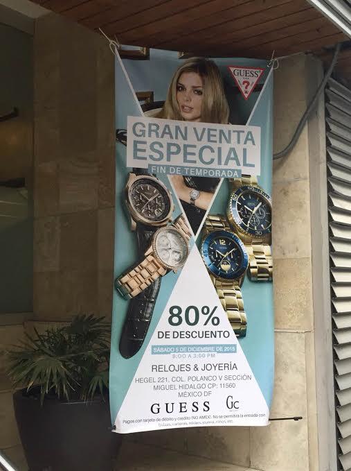 DF: Venta Corporativa Especial Relojes y Joyería Guess, Este Sábado