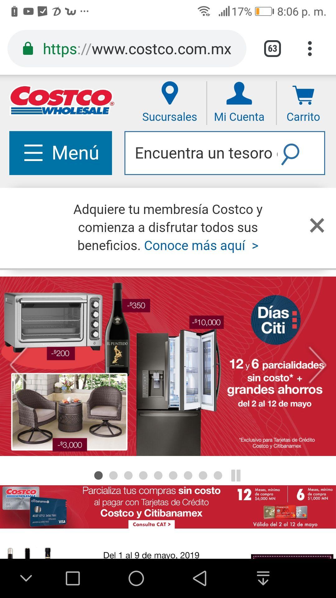Costco: 6 y 12 Parcialidades sin costo (con tarjeta de crédito Costco y Citibanamex)