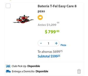 Sam's Club: Batería T-Fal Easy Care 8 pzas