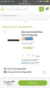 Sam's Club: Barra de sonido Bose solo TV speaker