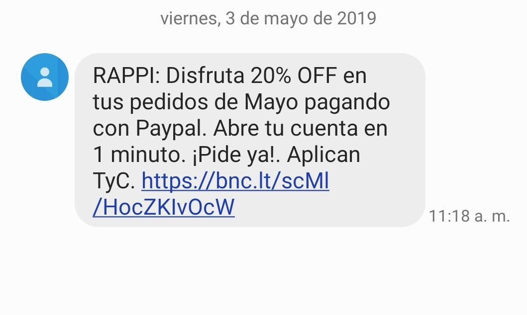 RAPPI: Disfruta 20% OFF en tus pedidos de Mayo pagando con Paypal