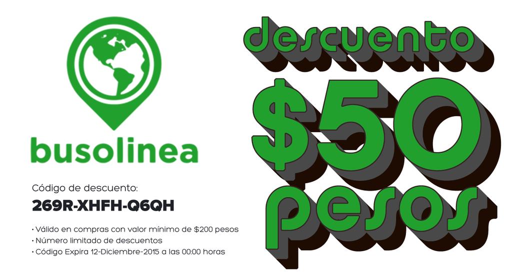 Descuento de $50 en boletos de autobus en Busolinea
