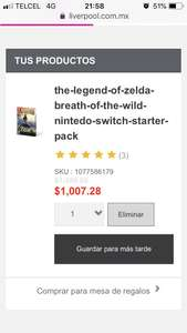 Liverpool en línea: The Legend of Zelda Breath of the Wild Nintedo Switch Starter Pack