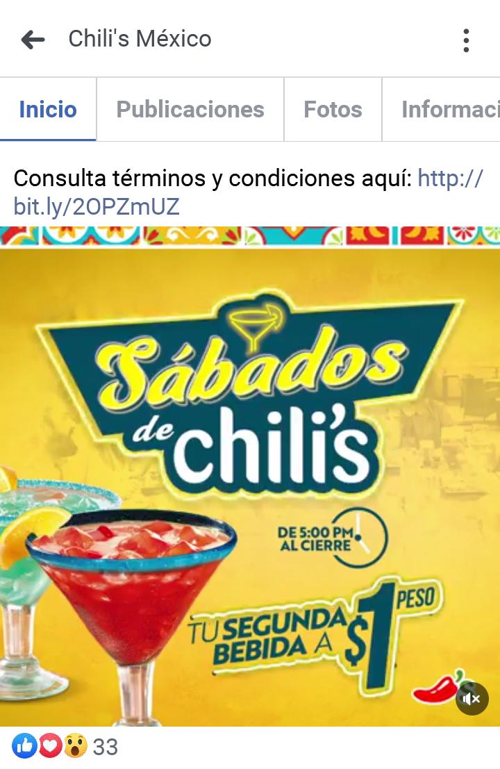 Chili's: Sábados segunda bebida a $1