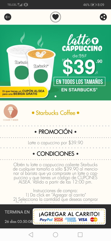 Cuponerapp: Cupón de descuento Latte o capuccino por $39.90 en Starbucks Coffee