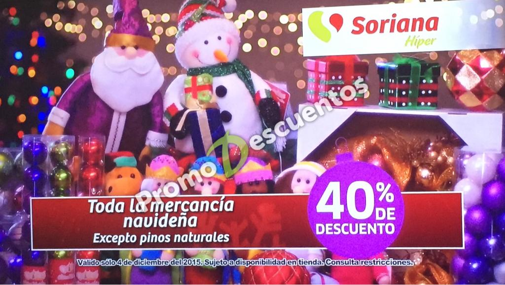 Soriana: 40% de descuento en artículos navideños, 30% de descuento en pinos naturales y más