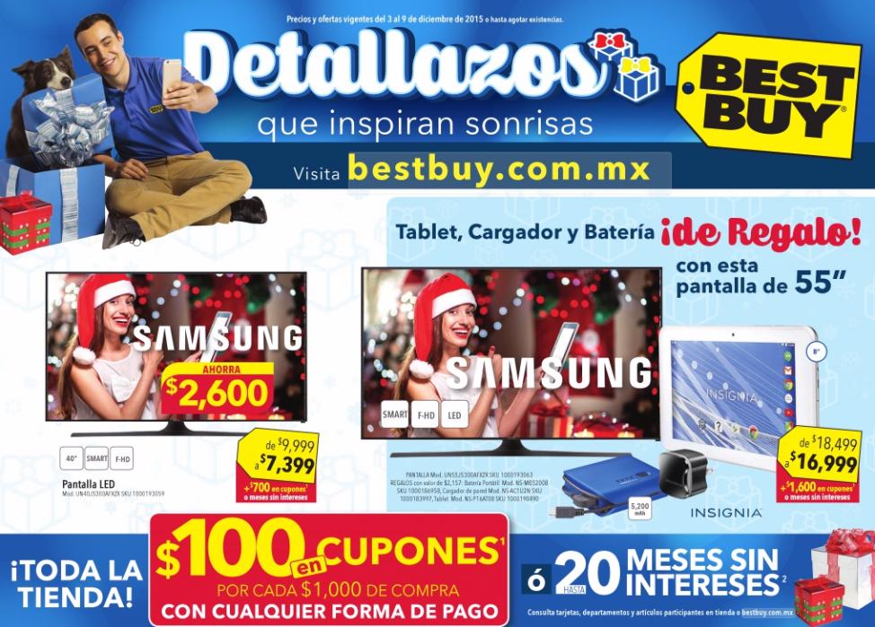 Folleto de ofertas en Best Buy del 3 al 9 de diciembre (refrigerador Samsung 3 puertas 26' $13,999 y $1,300 de bonif)
