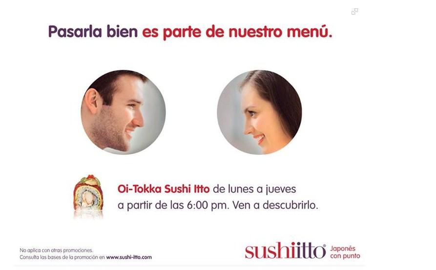 Sushi Itto: 2 rollos x 99 pesos, bebidas con alcohol 49 pesos, temakis 2 x 79 pesos y entradas 50%