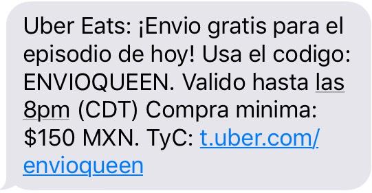 Uber Eats: Envío Gratis (Compra mínima de $150)