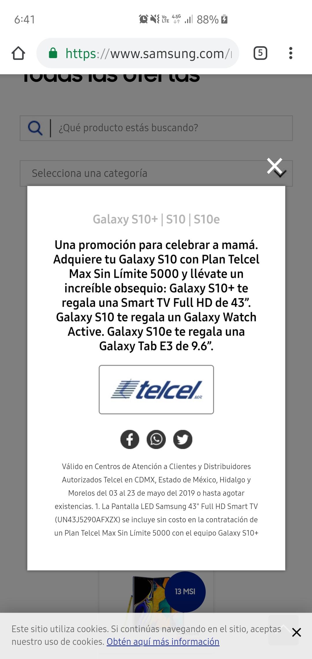 Telcel: Obtén un regalo en la compra de Samsung Galaxy S10+/S10/S10e en plan