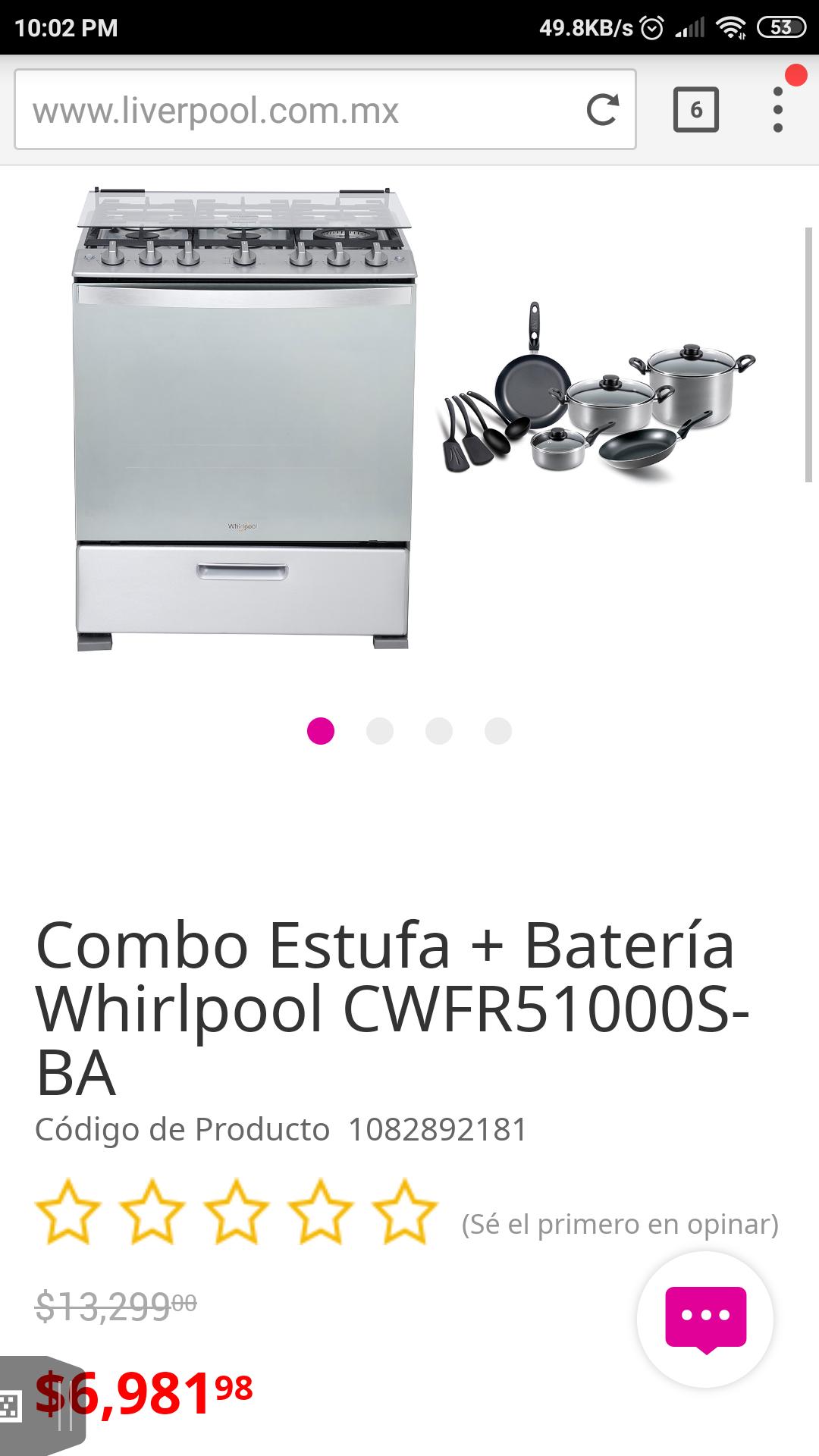Liverpool: Combo Estufa + Batería Whirlpool CWFR51000S-BA