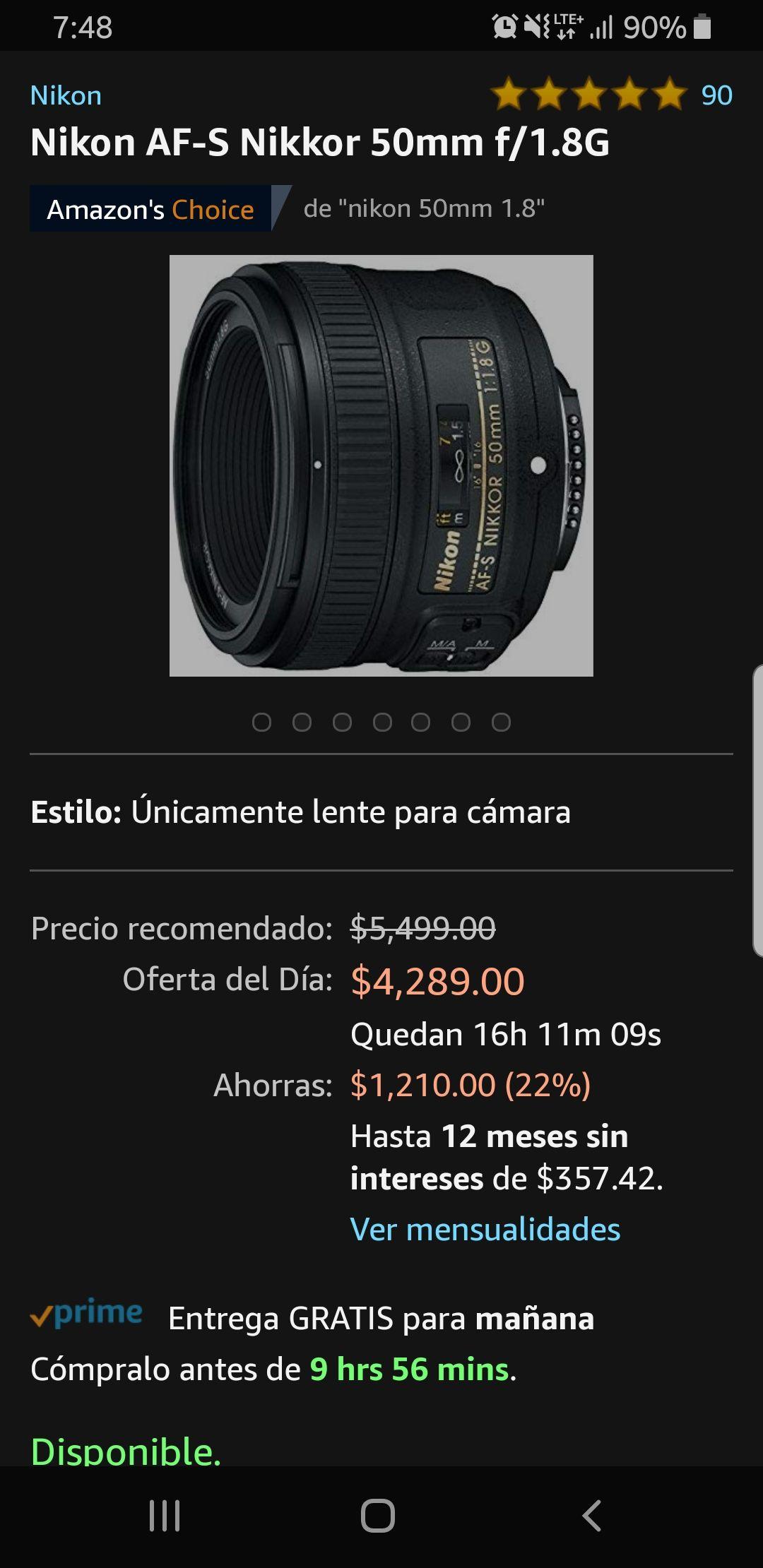 Amazon: Nikon 50 mm 1.8 G