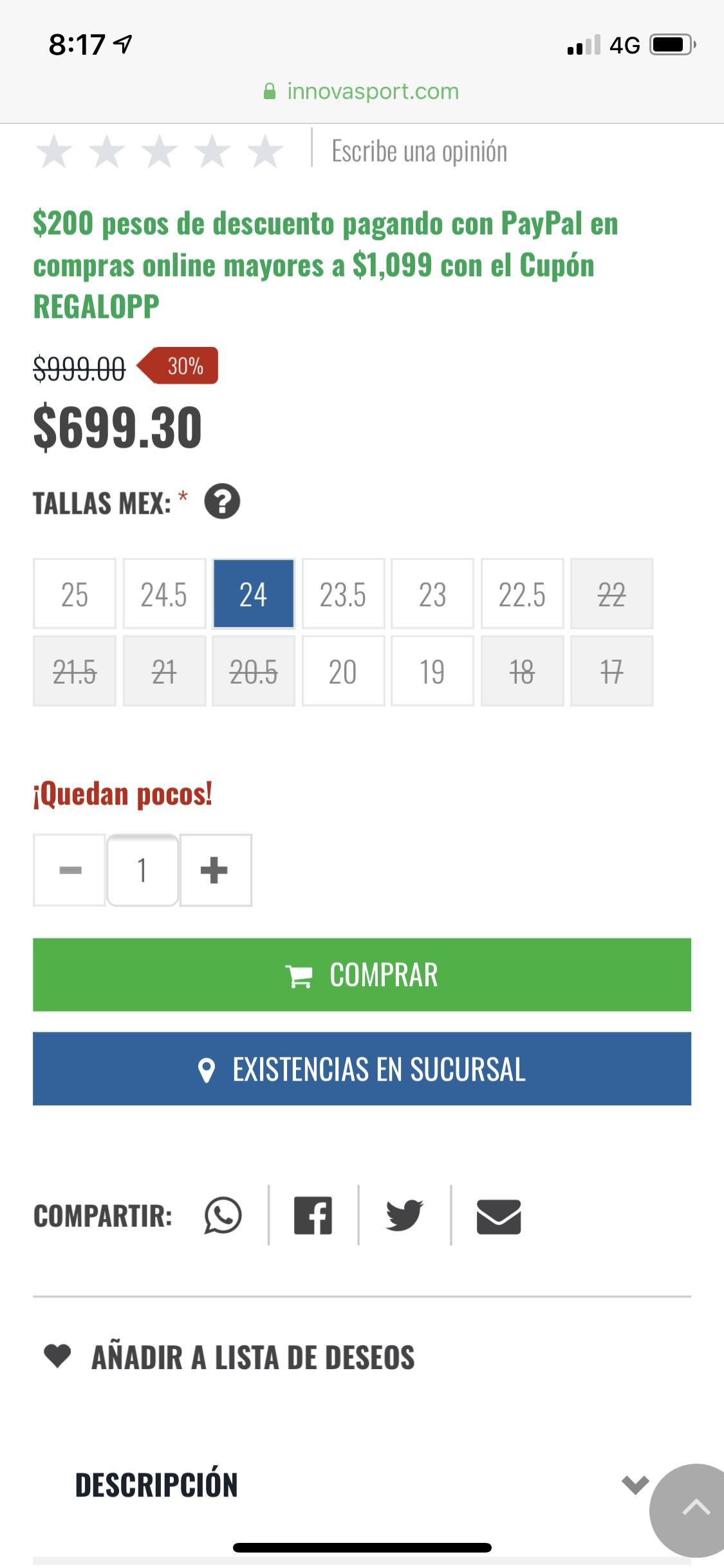 Innovasport $200 de descuento en compras mayores a $1099 pagando con paypal