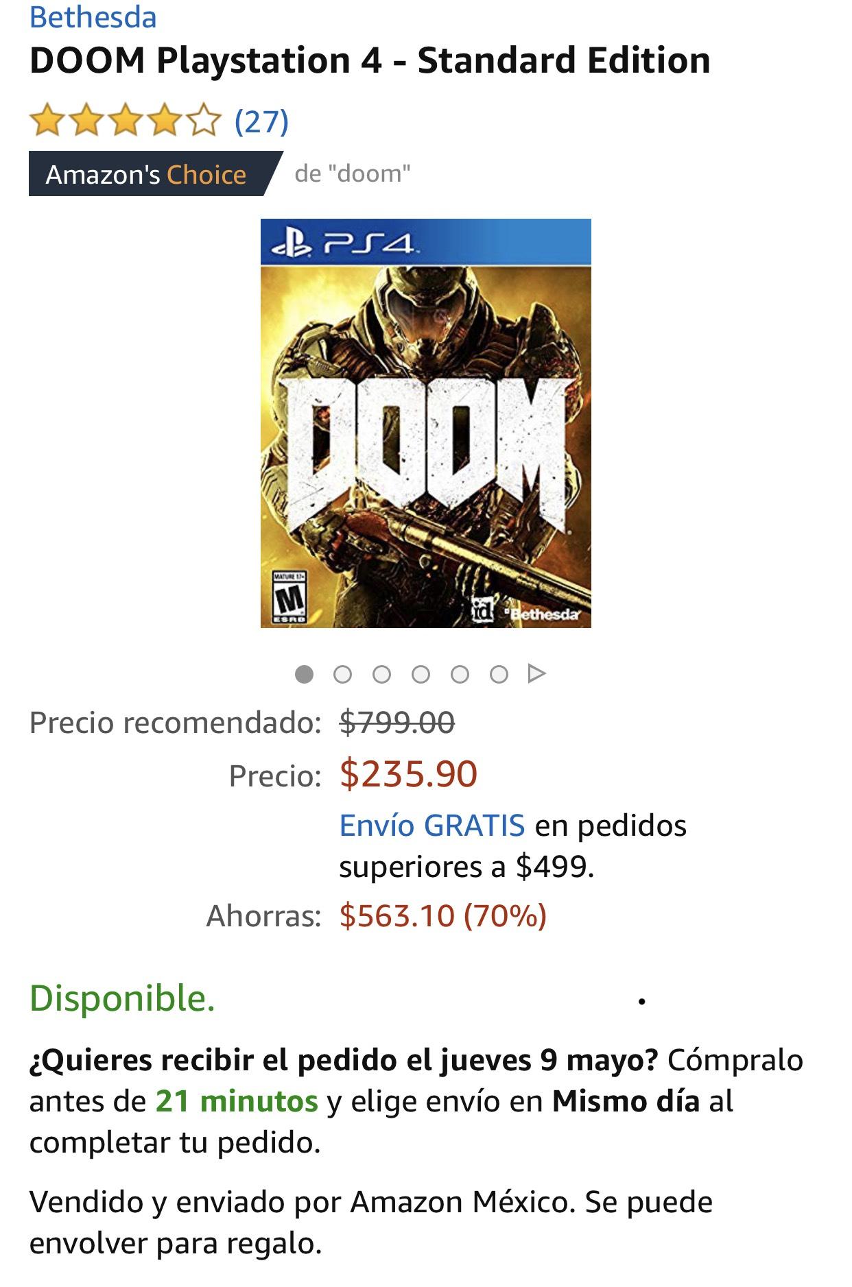 Amazon: Doom para PS4