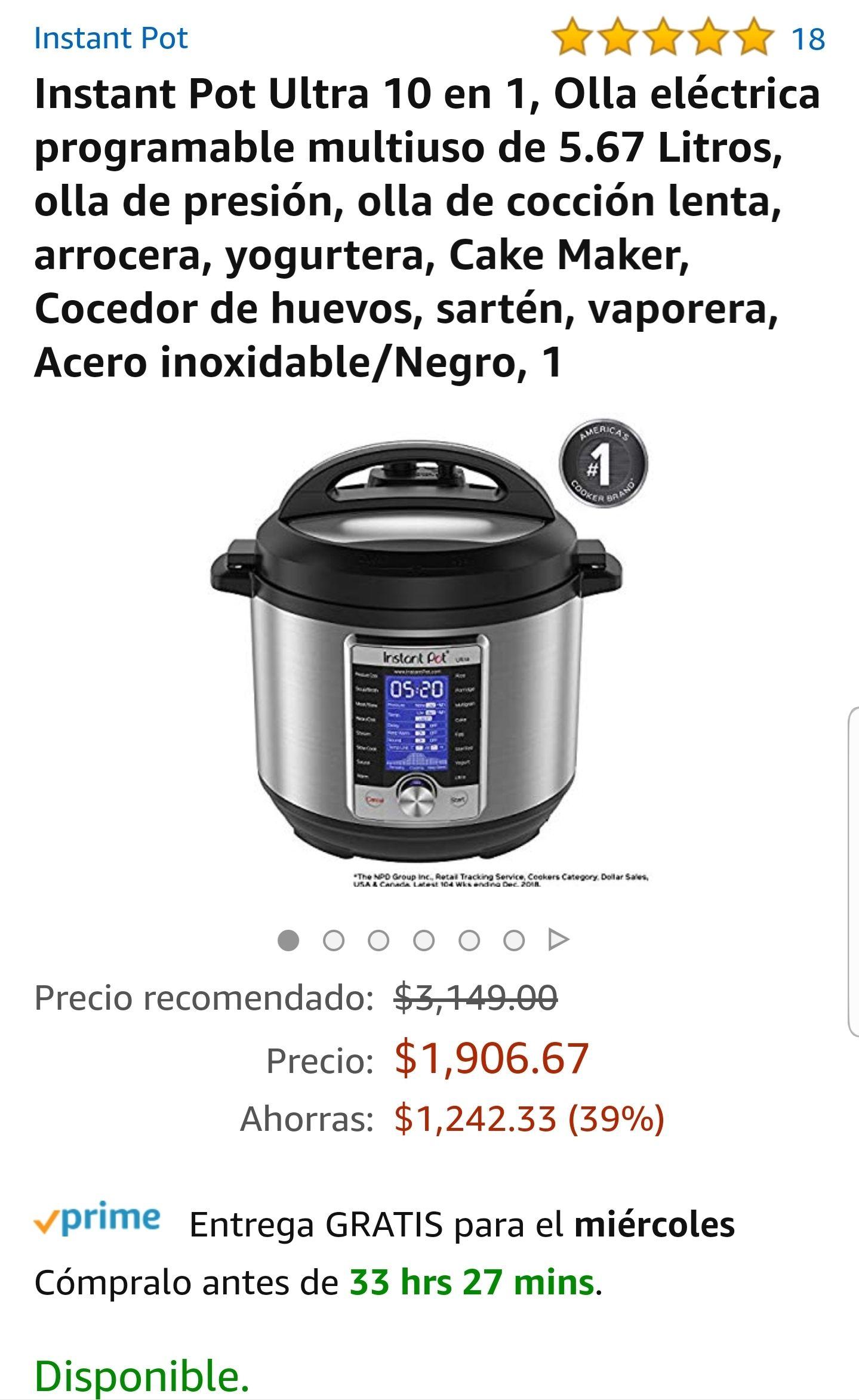 Amazon: Instant Pot Ultra 10 en 1, Olla eléctrica programable multiuso de 5.67 Litros