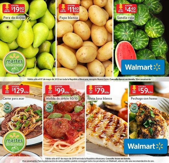 Walmart: Martes de Frescura 7 Mayo: Sandía Roja $4.40 kg... Papa Blanca $11.40 kg... Pera de Anjou $19.90 kg.