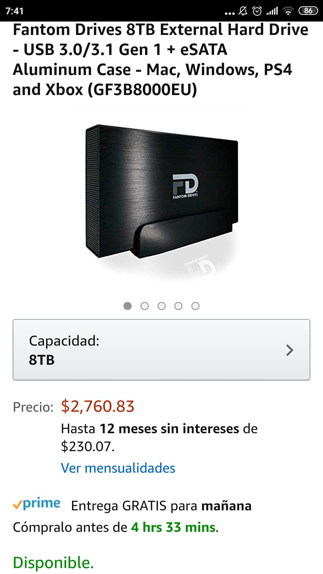 Amazon Disco duro Fantom Drives 8TB