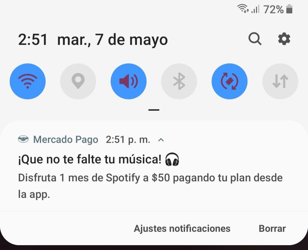 Spotify $50 pesos por un mes pagando con mercado pago