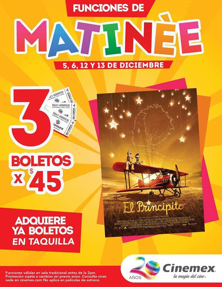 Cinemex: 3 boletos para matinée de El Principito por $45