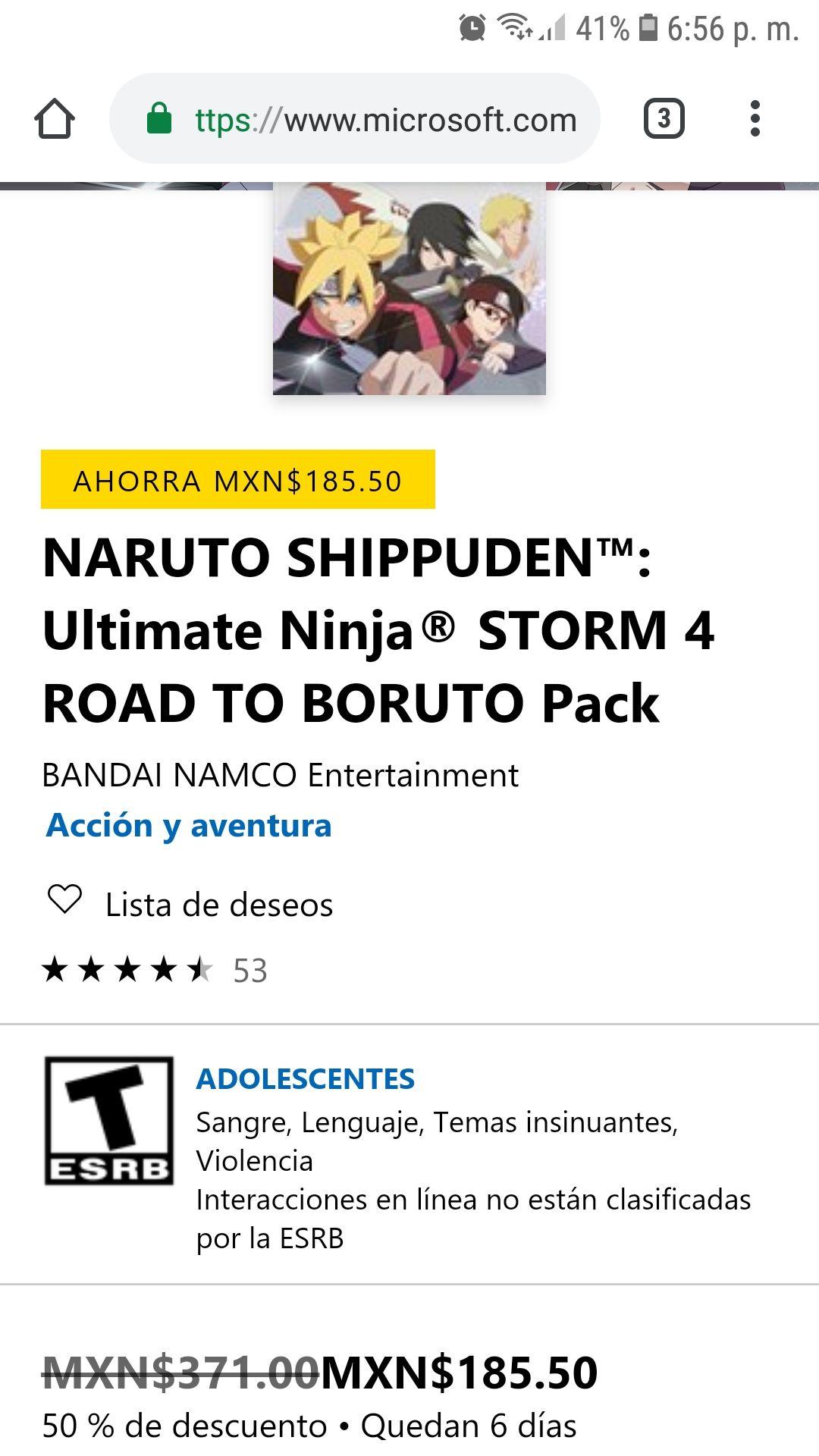 Microsoft Store: DLC DE ROAD TO BORUTO PARA NARUTO STORM 4 XBOX ONE