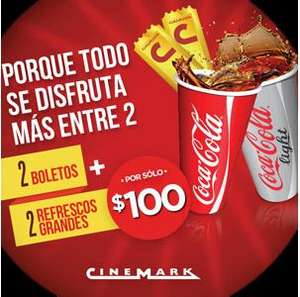 Cinemark: 2 boletos y 2 refrescos grandes por $100