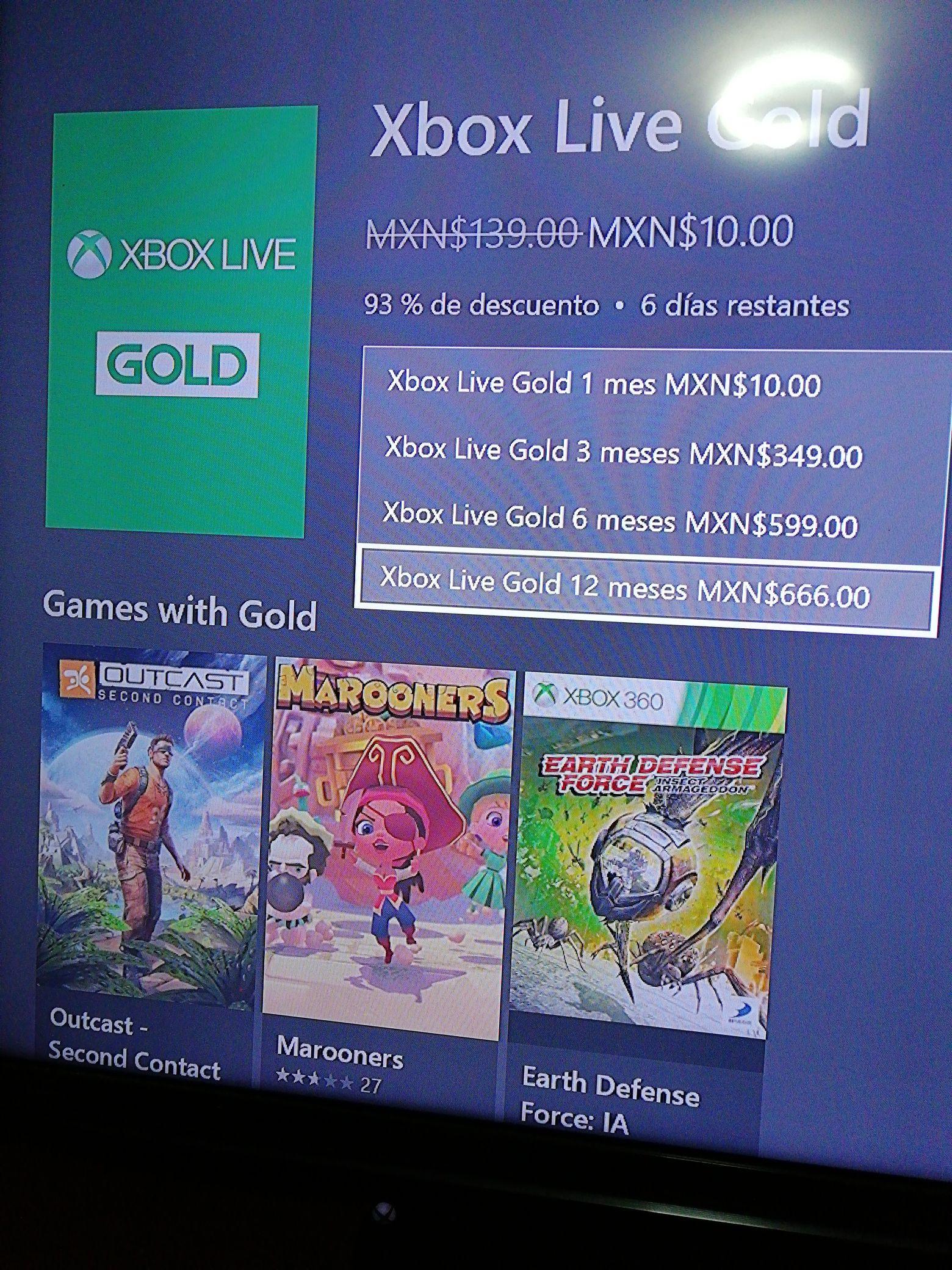 Microsoft Store: Xbox live gold 12 meses (Uuarios seleccionados)