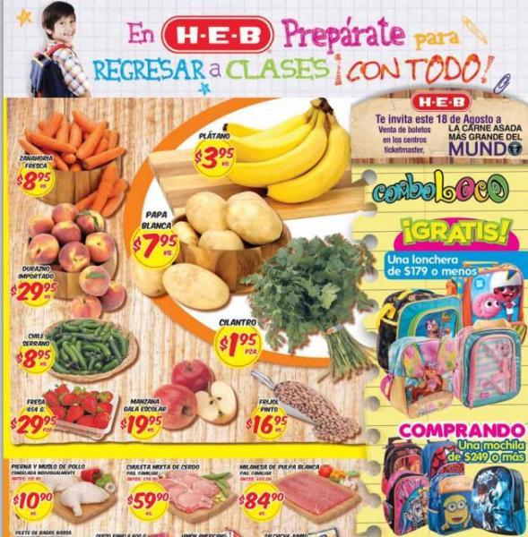 HEB: lonchera gratis comprando mochila, plátano $3.95 el kilo y más
