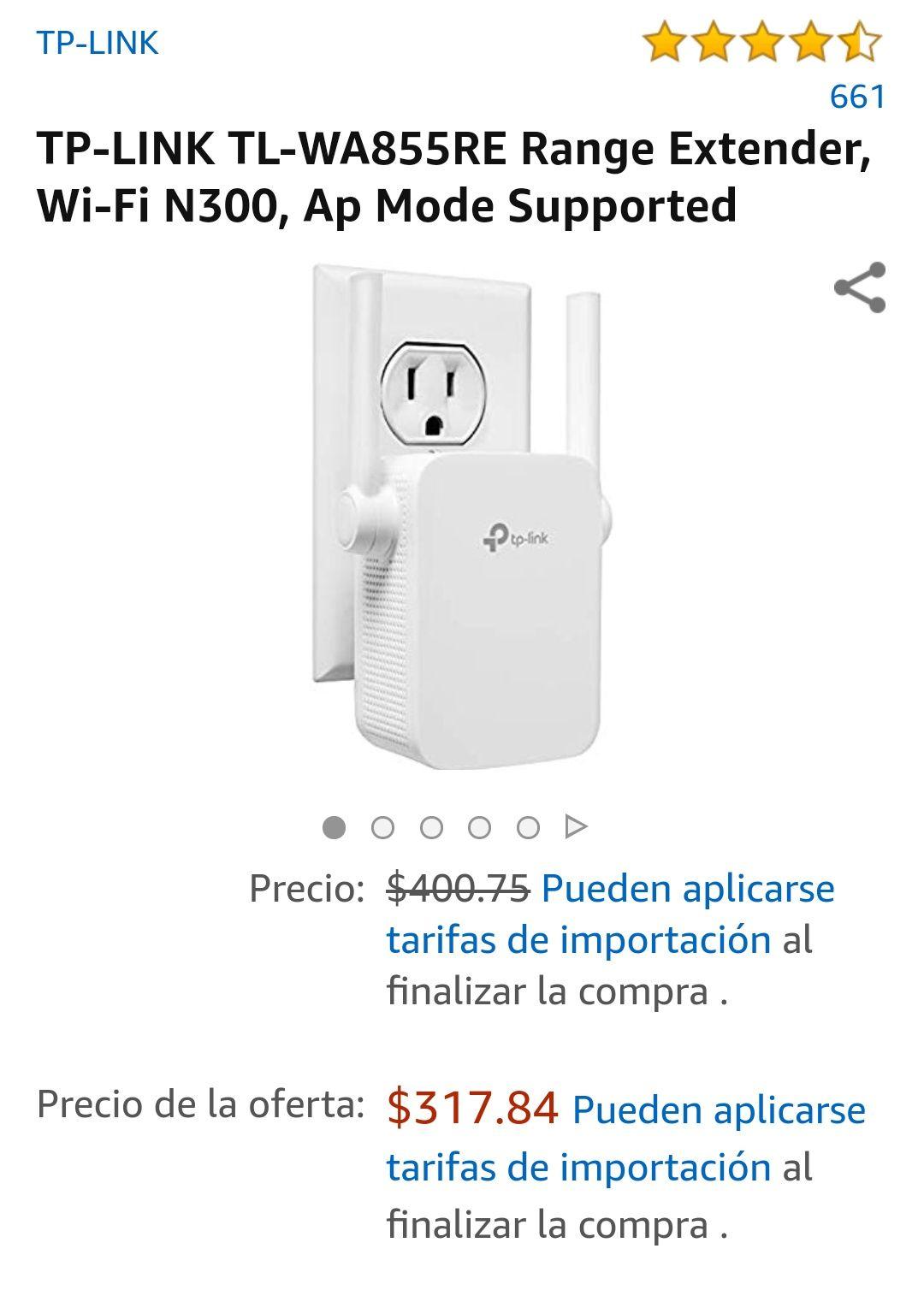 Amazon: Repetidor TP-Link Modelo TL-WA855RE 300MBPS