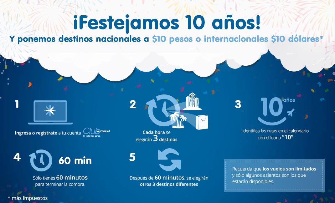 Interjet: vuelos nacionales a $10 MXN y vuelos internacionales a $10 USD (+ impuestos - ej. DF a Costa Rica a $1,256 ida y vuelta)