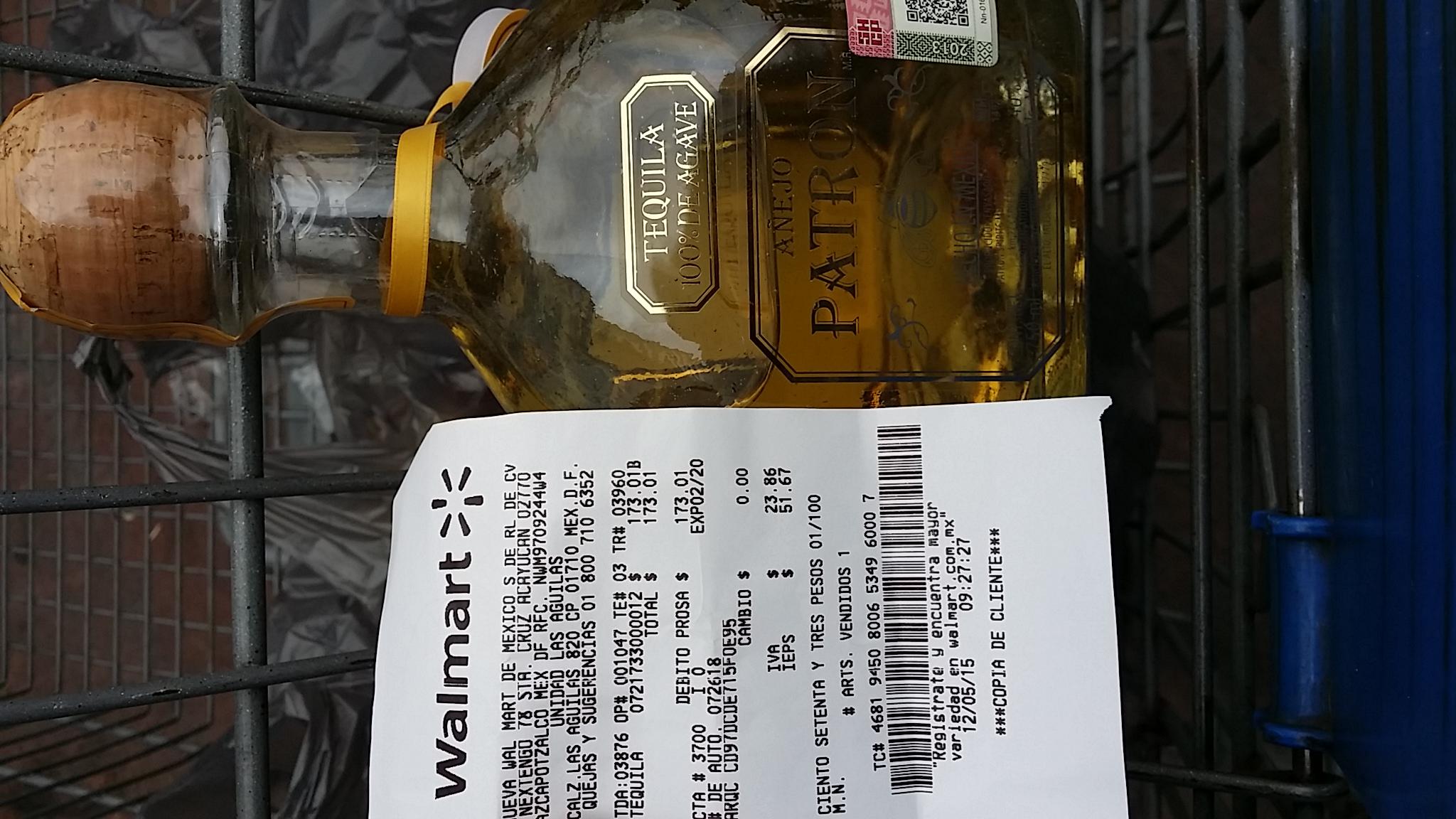 Walmart plateros: tequila patrón $173.01 (regular más de $600)