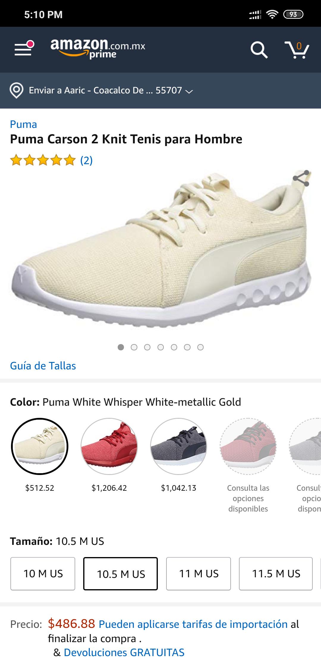 Amazon: Puma Carson 2 - Zapatillas de Punto para Hombre (10.5 US)