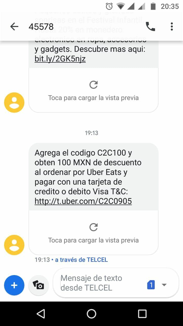 Uber Eats: -$100 MXN pagando con VISA