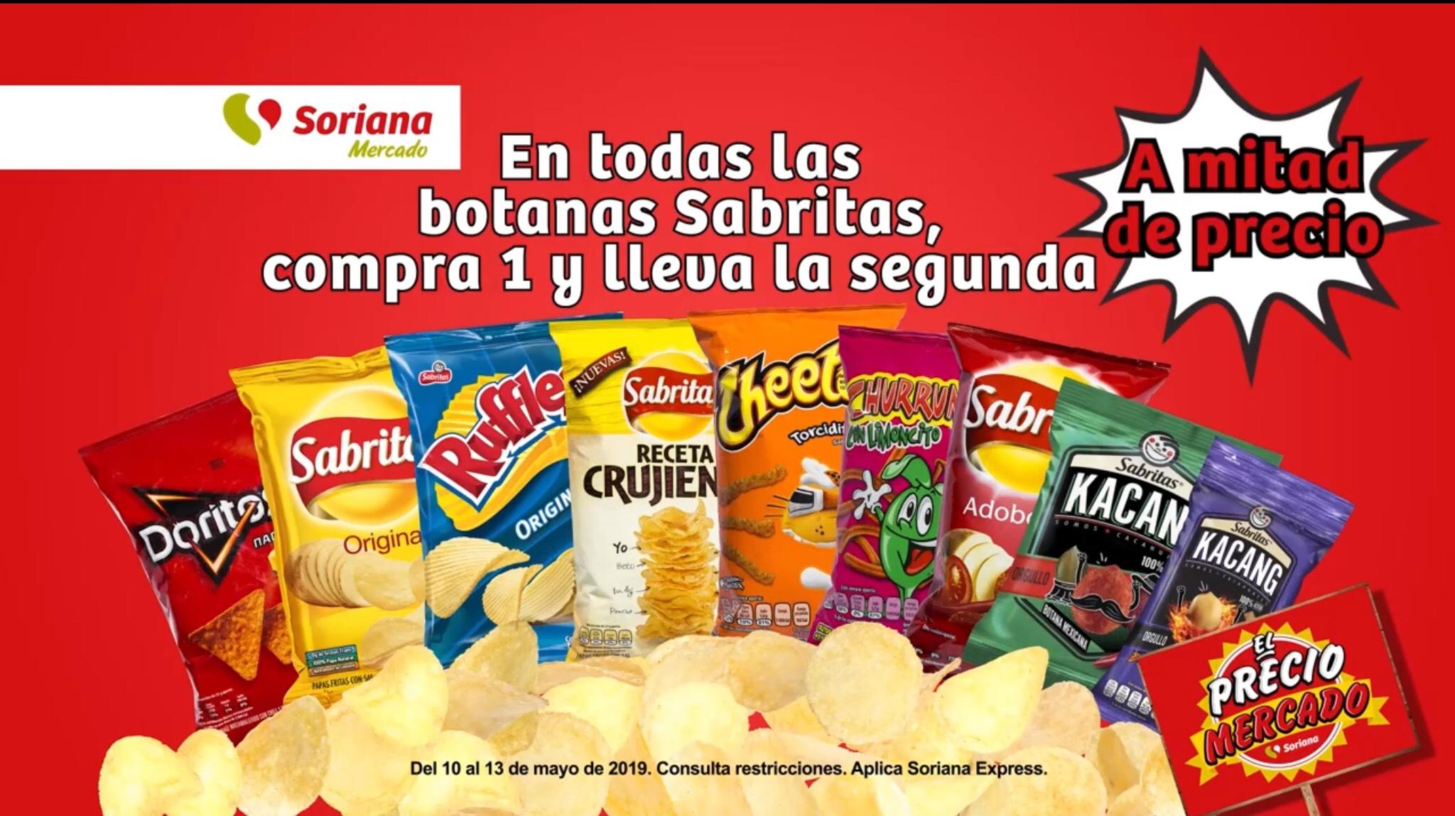 Soriana Mercado y Express: 2x1 1/2 en todas las Sabritas al 13 de Mayo 2019