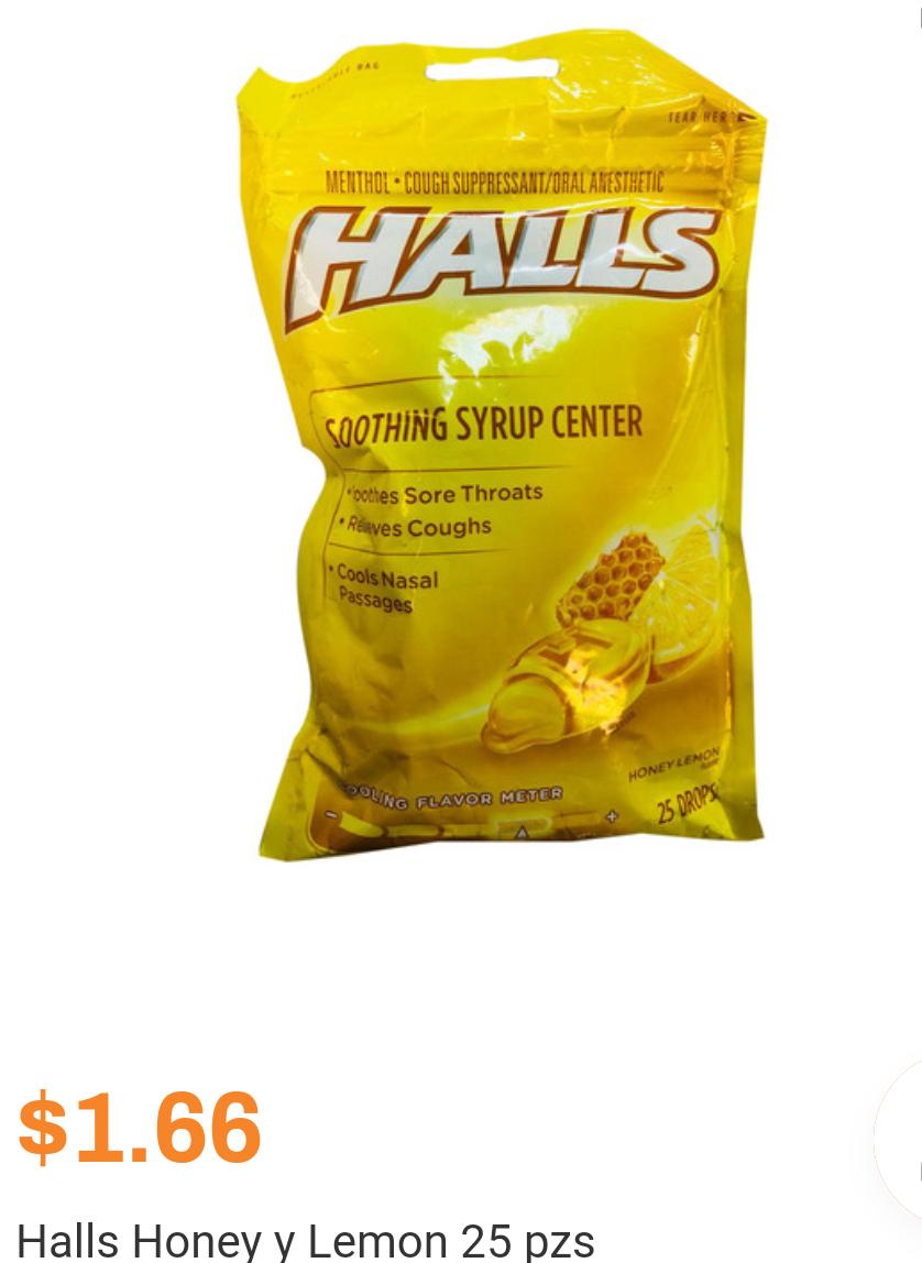Chedraui en Línea: Halls Honey y Lemon 25 pzs